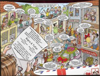 Mahalle karikatürlü düğün davetiyesi