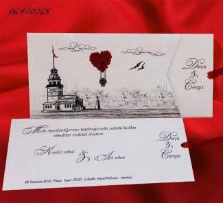 İstanbul davetiye, kız kulesi davetiye modeli