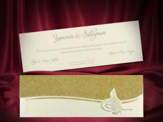 lüks tuğralı düğün davetiyesi
