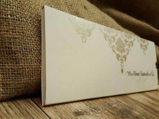 Lüks davetiye, krem renkli sıvamalı model