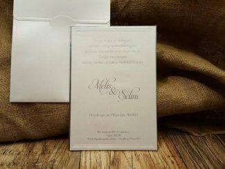 Lüks davetiye, beyaz sıvamalı