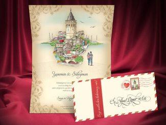 Galata Kulesi manzaralı İstanbul düğün davetiyesi