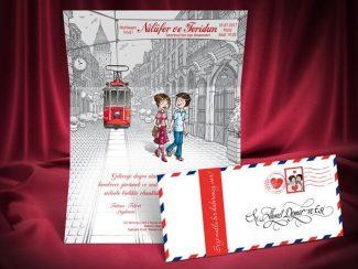 Taksim istiklal caddesi manzaralı düğün davetiyesi modeli.