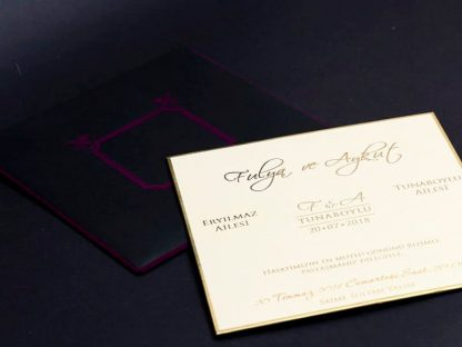 Mor Kadife Düğün Davetiyesi İç kartı
