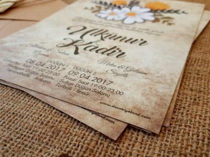 Papatyalı düğün davetiyesi