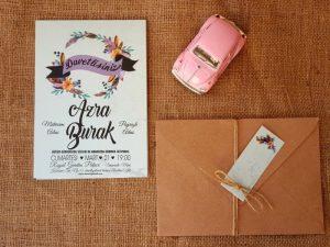 Düğün davetiyesi, boho davetiye modeli