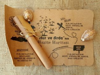 Define haritası şeklinde düğün davetiyesi modeli