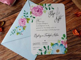 Mavi zarflı davetiye modeli