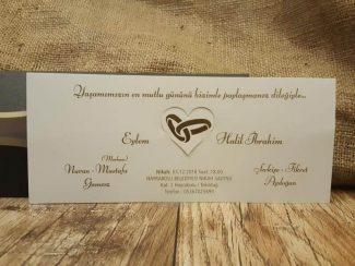 Siyah zarflı alyanslı davetiye iç kartı
