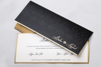 Lüks davetiye, siyah zarflı