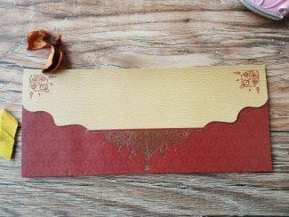 Zarfsız sarı kırmızı renkli davetiye modeli