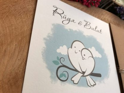 Mavi Kuşlu Düğün Davetiyesi Modeli