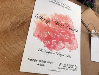 Müzik Notalı Düğün Davetiyesi