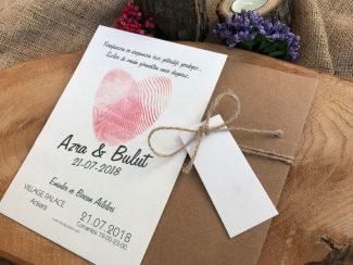 Pembe Parmak İzi Düğün Davetiyesi