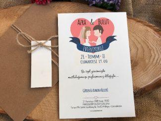 Şirin Kalpli Düğün Davetiyesi