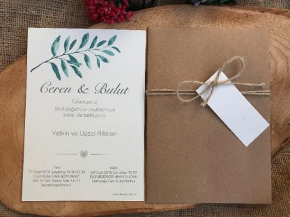 Yaprak Dalı Düğün Davetiyesi