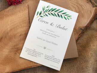 Yapraklı Düğün Davetiyesi