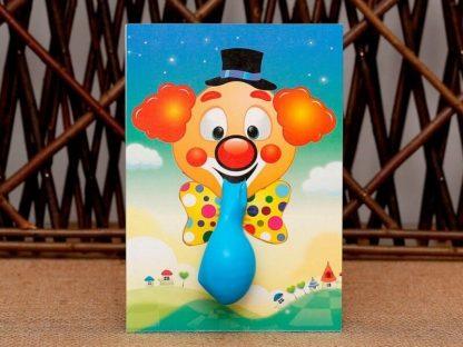 Palyaço görseli bulunan renkli zarflı ve balonlu sünnet davetiyesi