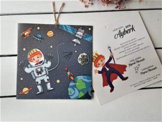 Uzay Temalı Sünnet Davetiyesi, Astronotlu Sünnet Kartı - 1044970