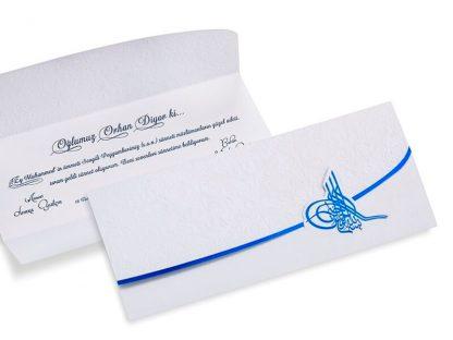 Mavi Tuğralı Sünnet Davetiyesi