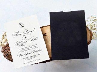 Siyah Zarfllı , krem yalın iç kartlı davet kartı