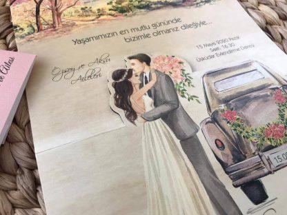 Arabalı Zarfsız Düğün Davetiyesi
