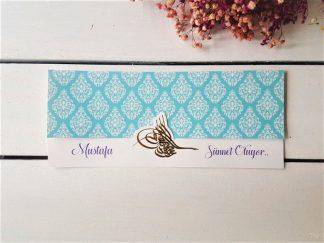 Mavi desenli ve Osmanlı Tuğralı kart