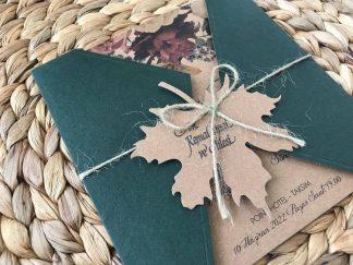 Çınar Yapraklı Koyu Yeşil Zarflı Davetiye