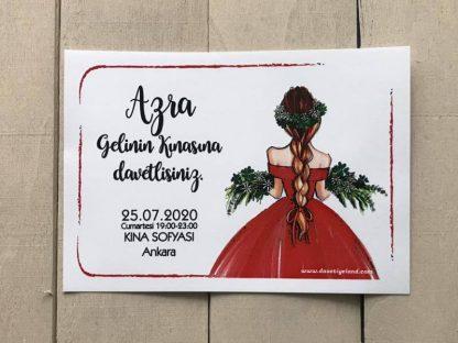 Kırmızı Elbiseli Kına Kartı