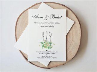 Yemekli Düğün Davetiyesi