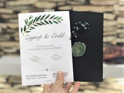 Yaprak Temalı Siyah Mühürlü Zarflı Davetiye - 9961MS