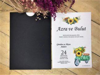 Vespa ve Ay Çiçek Baskılı Siyah Dış Örnek