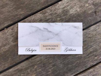 Gri mermer zeminli ve zarfsız kart