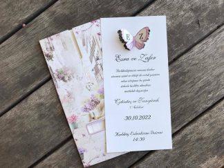 Çiçekli ve Kelebekli Dikine Düğün Davetiyesi