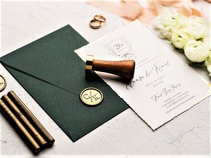 Mühürlü Yeşil Zarflı Düğün Davetiyesi
