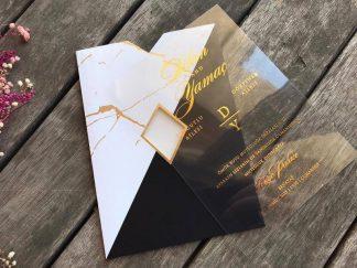 Siyah beyaz mermer desenli şeffaf kartlı davetiye